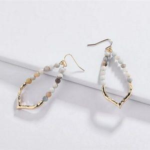 ANTHRO Amazonite Gemstone Beaded Hoop Earrings